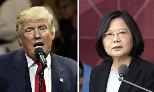 Tổng thống Mỹ đắc cử Donald Trump (trái) và lãnh đạo Đài Loan Thái Anh Văn. Ảnh: AP.
