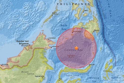 Vị trí tâm chấn động đất mạnh 7,3 độ Richter. Đồ họa: USGS
