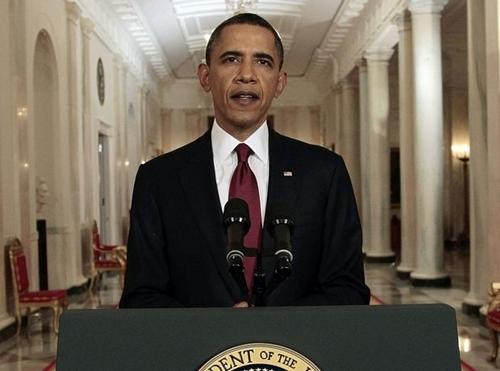 Tổng thống Mỹ Barack Obama trong một bài phát biểu năm 2011 tại Nhà Trắng. Ảnh: AP