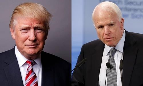 Tổng thống Mỹ đắc cử Donald Trump (trái) và thượng nghị sĩ John McCain. Ảnh: Reuters.