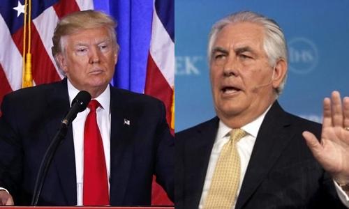 Tổng thống Mỹ đắc cử Donald Trump (trái) và Rex Tillerson, người được ông chọn làm ngoại trưởng. Ảnh: Reuters.