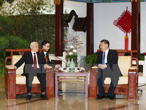Chủ tịch Trung Quốc Tập Cận Bình hội đàm với Tổng Bí thư Nguyễn Phú Trọng. Ảnh: TTXVN