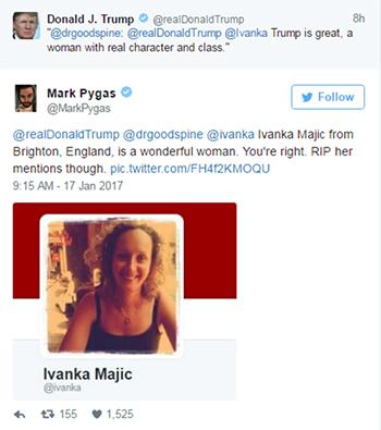 Bài viết của ông Trump được một người chia sẻ lại và đề cập tới Ivanka Majic.
