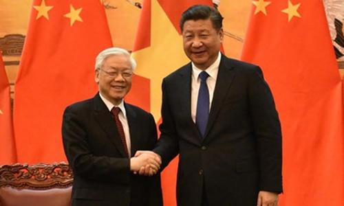 Tổng Bí thư Nguyễn Phú Trọng và Chủ tịch Trung Quốc Tập Cận Bình. Ảnh: VOV.