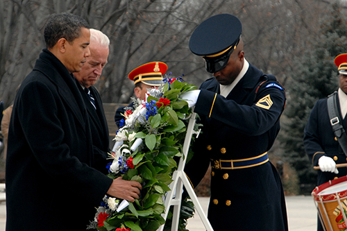 President-elect Barack Obama and Vice President-elect Joe Biden lay a wreath at Arlington National Cemetery Jan. 18, 2009. Department of Defense photo by U.S. Army Sgt. Jeremy Kern