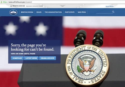 Website Nhà Trắng tiếng Tây Ban Nha. Ảnh: IG.