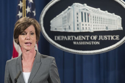 [Caption]Sally Yates, an Obama appointee, is the acting attorney general