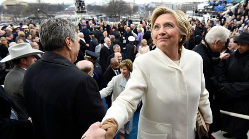 Bà Clinton tại lễ nhậm chức tổng thống của Donald Trump tháng trước. Ảnh: AP