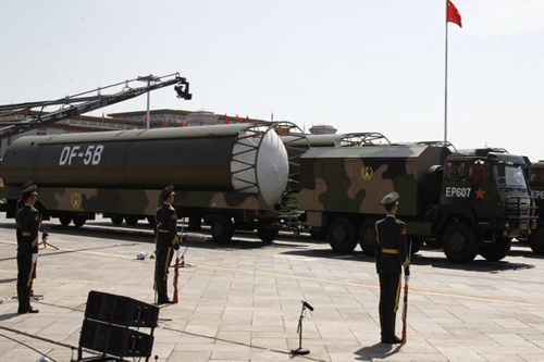 A file photo of Chinese DF-5B missiles presented during a military parade in Tiananmen Square in Beijing in September 2015. Photo: AFP