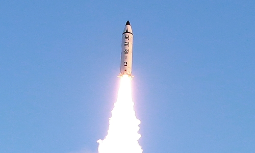 A view of the test-fire of Pukguksong-2 guided by North Korean leader Kim Jong Un