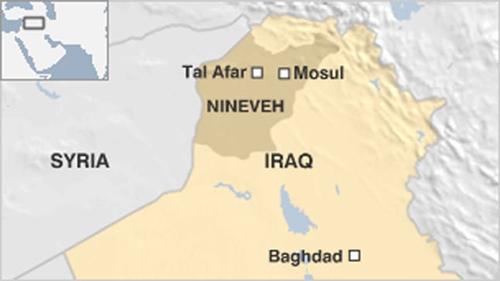Vị trí thành phố Tal Afar và Mosul, Iraq. Đồ họa: BBC.