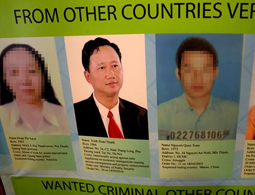 Nghi can Trịnh Xuân Thanh trong danh sách truy nã quốc tế của Interpol. Ảnh: Bá Đô