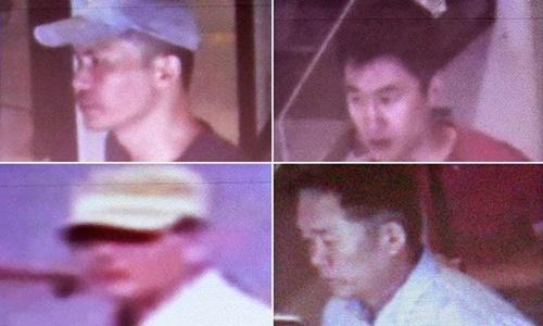 Malaysia công bố hình ảnh 4 nam nghi phạm là chủ mưu trong vụ sát hại ông Kim Jong-nam. Ảnh: AFP