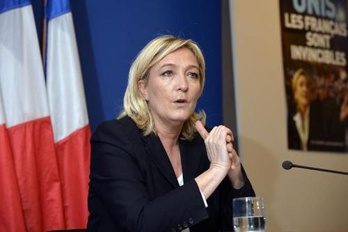 bà Marine Le Pen, Chủ tịch đảng cực hữu Mặt trận Dân tộc. Ảnh: Liberation