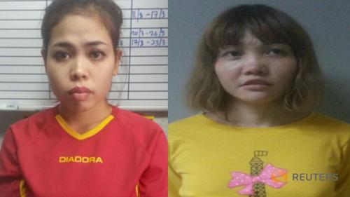 Hai nữ nghi phạm mang hộ chiếu nước ngoài trong vụ sát hại người đàn ông Triều Tiên. Ảnh: Reuters