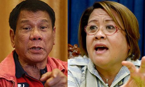 Tổng thống Philippines Rodrigo Duterte (trái) và thượng nghị sĩ Leila De Lima. Ảnh: Rappler.
