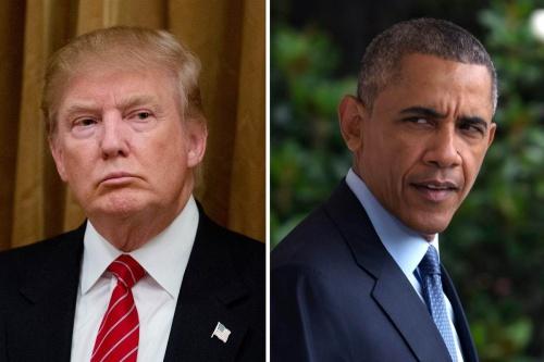 Tổng thống Mỹ Donald Trump và người tiền nhiệm Barack Obama. Ảnh: NBCNews
