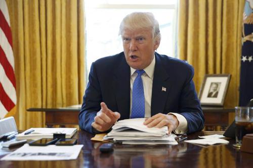 Tổng thống Trump trong cuộc phỏng vấn với Reuters ngày 22/2,