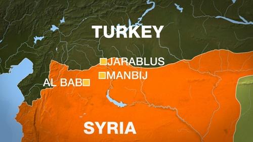Vị trí thị trấn al-Bab, Syria. Đồ họa: Al Jazeera.