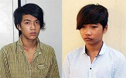 Hai trong số 4 tên cướp bị bắt. Ảnh: H.N