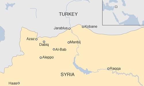 Vị trí al-Bab và Manbij, Syria. Đồ họa: BBC.