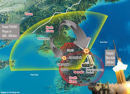 Vị trí Hàn Quốc dự định bố trí THAAD. Đồ họa: Korean Times.
