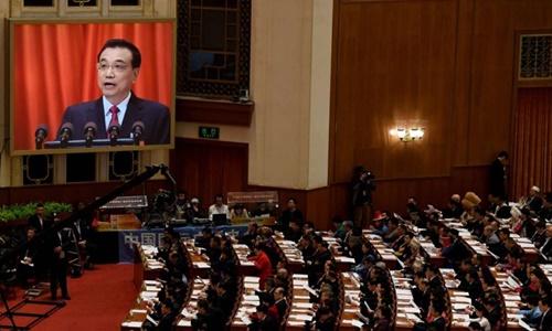Thủ tướng Trung Quốc Lý Khắc Cường phát biểu trước Đại hội Đại biểu Nhân dân toàn quốc. Ảnh: AFP