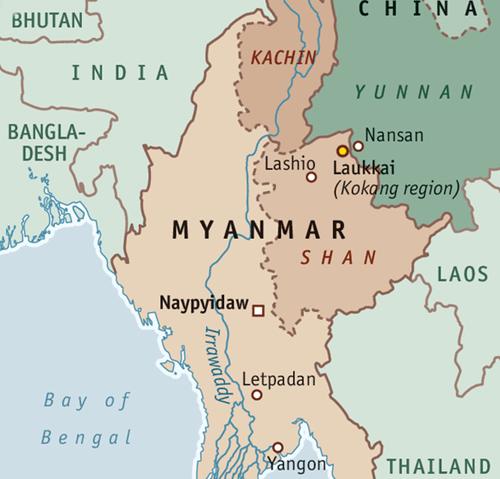 Vị trí thị trấn Laukkai, Shan, Myanmar. Đồ họa: The Economist.