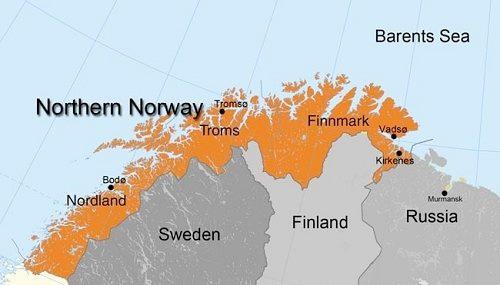 Khu vực Finnmark, nơi diễn ra cuộc tập trận, nằm cách biên giới với Nga không xa. Đồ họa: Norwegian Barents Secretariat