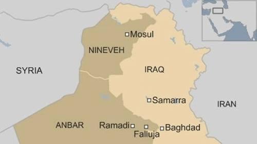 Vị trí thành phố Mosul. Đồ họa: BBC