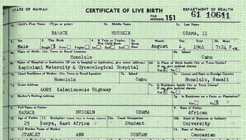 Giấy khai sinh của ông Obama do Nhà Trắng cung cấp năm 2011 (bấm vào hình để xem ảnh lớn).