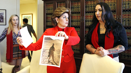 The military is investigating a scandal involving the sharing of nude photos of female service members. This week, retired Marine Erika Butner (right) appeared at a news conference with attorney Gloria Allred and active-duty Marine Marisa Woytek (left).
