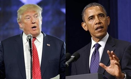 Tổng thống Mỹ Donald Trump (trái) và người tiền nhiệm Barack Obama. Ảnh: Reuters.