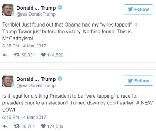Tổng thống Donald Trump nói ông bị nghe lén trên Twitter cá nhân ngày 4/3. Ảnh: Twitter.