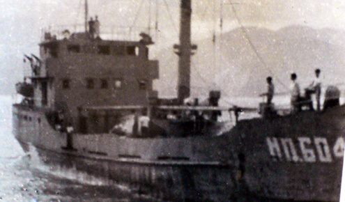 Tàu HQ 604 khi nhận lệnh ra Gạc Ma. Ảnh tư liệu Lữ đoàn 125