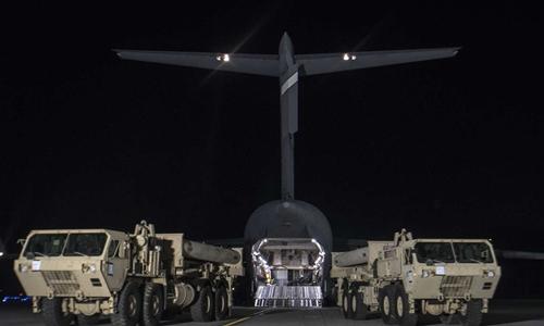 Mỹ đưa các thiết bị trong hệ thống THAAD tới Hàn Quốc vào tuần trước. Ảnh: Xinhua