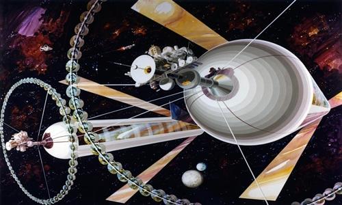 Mô phỏng về khu định cư không gian của con người trong tương lai. Ảnh: Rick Guidice.
