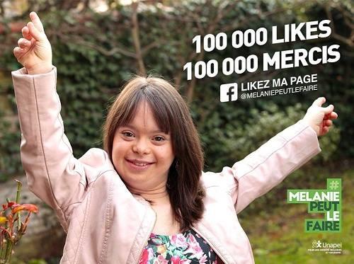 Hình ảnh Mélanie Ségard trên trang Facebook của chiến dịch kêu gọi 100.000 likes. Ảnh: Facebook