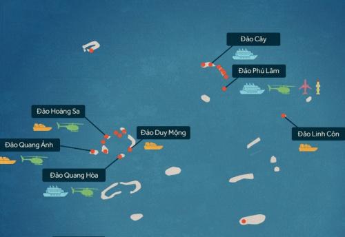 Trung Quốc xây phi pháp những gì tại quần đảo Hoàng Sa? Nhấn vào hình để xem chi tiết. Đồ hoạ: Tiến Thành