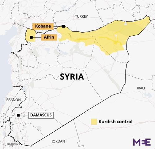 Vị trí vùng Afrin, Syria. Đồ họa: Middle East Eye.