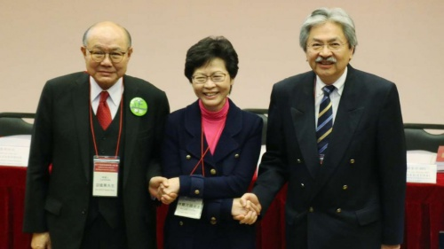 Chief executive candidates Woo Kwok-hing (left), Carrie Lam and John Tsang