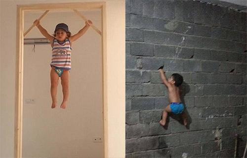 Bé 3 tuổi trèo tường, đu xà thoăn thoắt