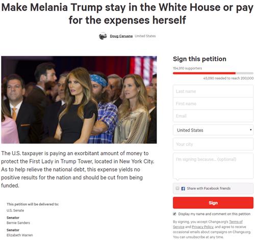 Kiến nghị yêu cầu Đệ nhất Phu nhân Melania Trump chuyển về Nhà Trắng. Ảnh chụp màn hình.