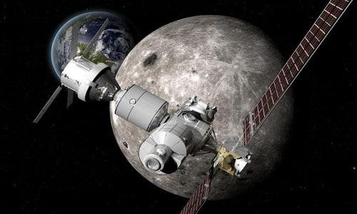 Trạm Deep Space Gateway sẽ quay quanh Trái Đất và Mặt Trăng. Ảnh: Boeing
