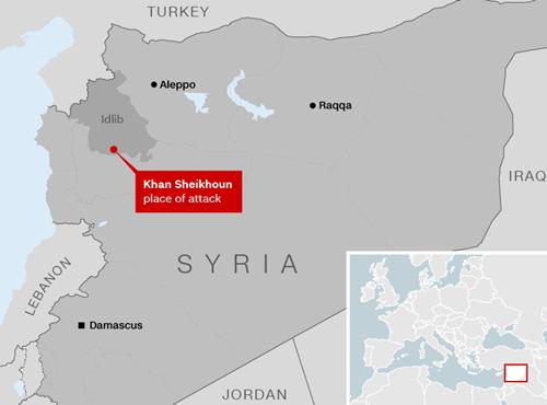 Vị trí thị trấn Khan Sheikhoun, Idlib, Syria. Đồ họa: CNN.