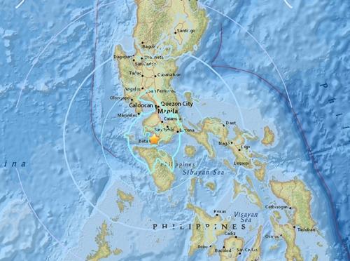 Khu vực tâm chấn các trận động đất. Đồ họa: USGS.