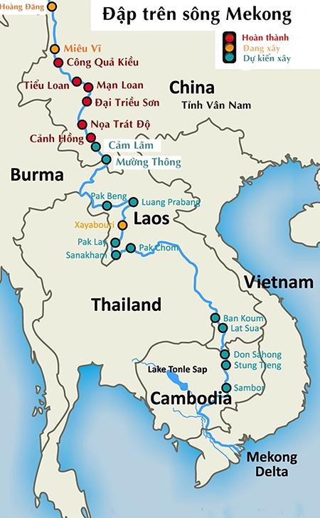 Các đập thủy điện trên sông Mekong.