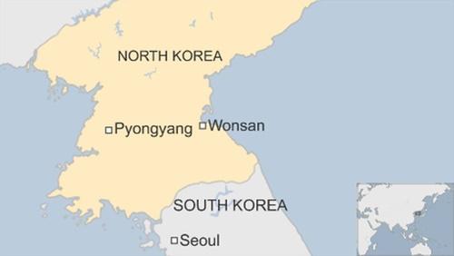 Vị trí thành phố Wonsan, Triều Tiên. Đồ họa: BBC