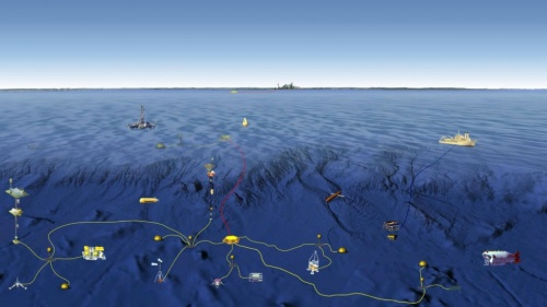 Đồ hoạ mô phỏng mạng lưới theo dõi dưới biển. Đồ hoạ: SCMP
