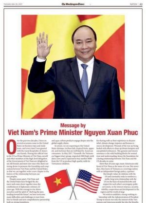 Thông điệp của Thủ tướng trên báo The Washington Times. Ảnh: Vietnam+